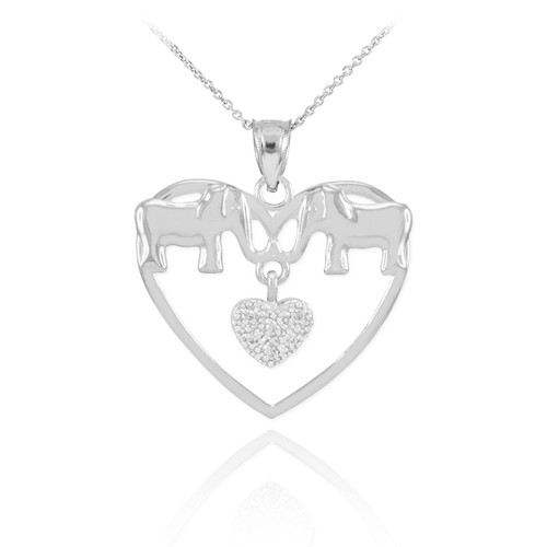 White Gold Elephant and Heart Pendant Necklace