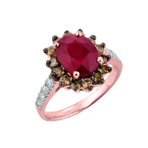 Rose Gold Ruby Birthstone and Diamond Proposal Ring