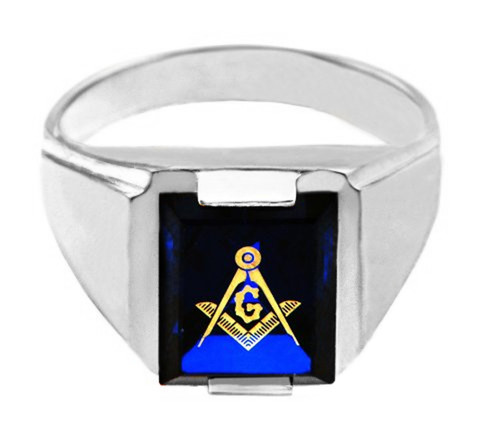 Freemason Blue CZ Square & Compass Silver Masonic Mens Ring