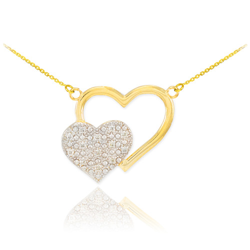 14k Gold Pave Diamond Twin Hearts Necklace
