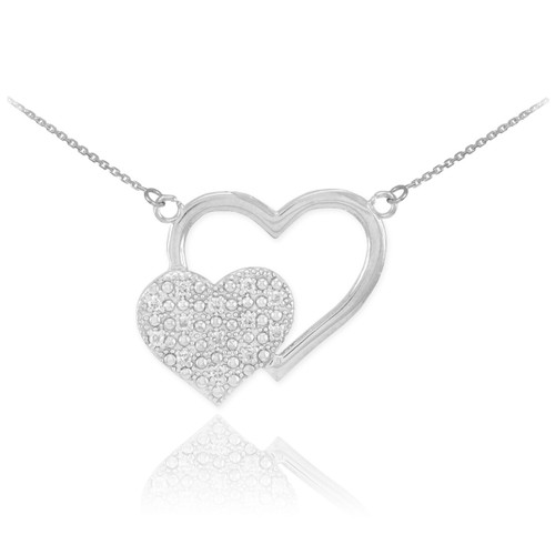 14k White Gold Pave Diamond Twin Hearts Necklace