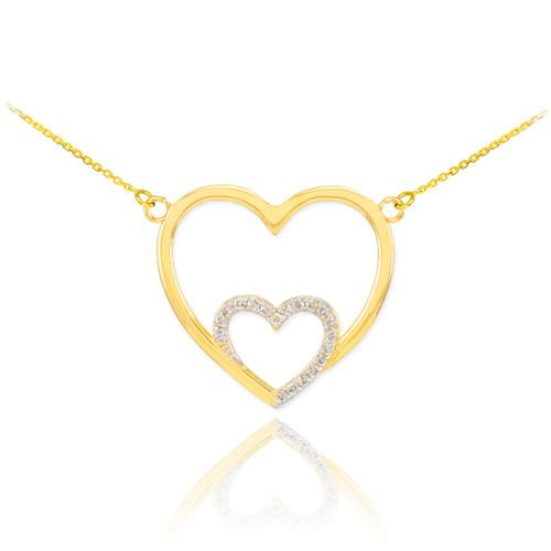 14k Gold Diamond Double Heart Necklace
