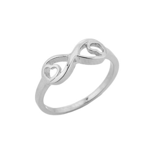 White Gold Infinity with Double Heart Ring