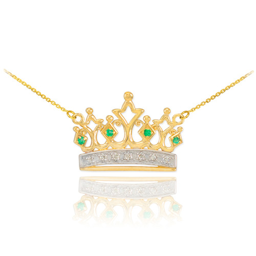 14k Gold Emerald Crown Necklace with Diamonds