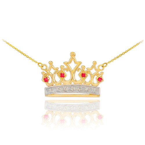 14k Gold Ruby Crown Necklace with Diamonds