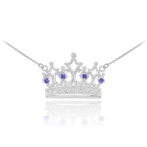 14k White Gold Sapphire Crown Necklace with Diamonds