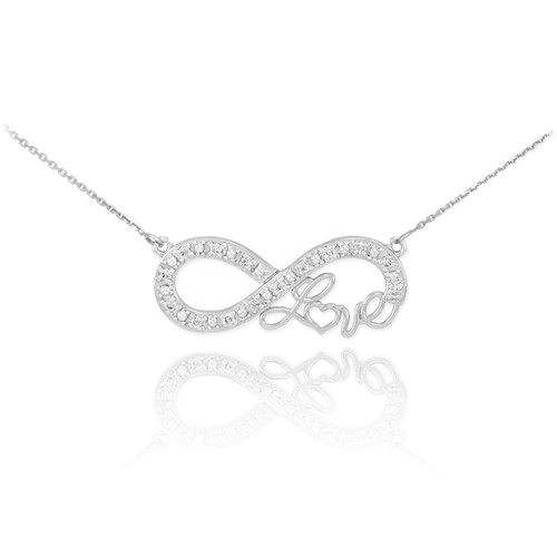 """14k White Gold Infinity """"Love"""" Script Necklace with Diamonds"""