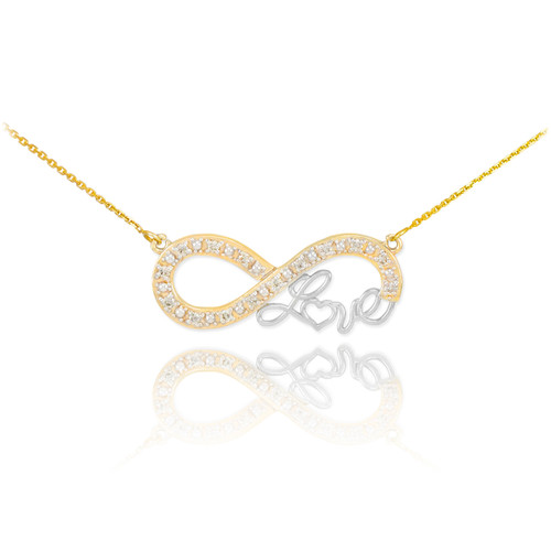 """14k Two-Tone Gold Infinity """"Love"""" Script Necklace with Diamonds"""