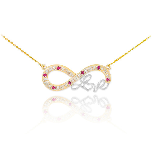 """14k Two-Tone Gold Ruby Infinity """"Love"""" Script Necklace with Diamonds"""