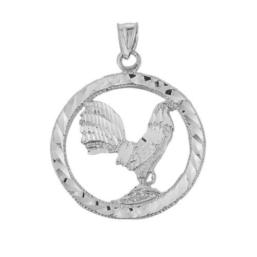 Sterling Silver Diamond Cut Rooster Pendant Necklace