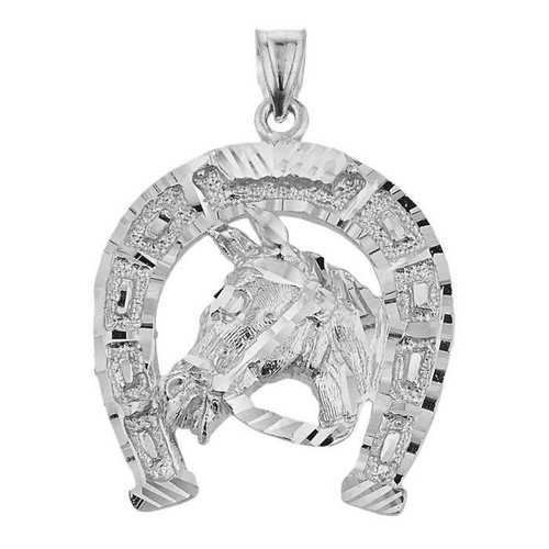 Sterling Silver Horse Head with Horseshoe Pendant