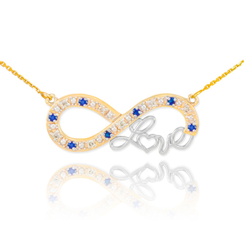 """14k Two-Tone Gold Sapphire Infinity """"Love"""" Script Necklace with Diamonds"""
