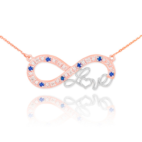 """14k Two-Tone Rose Gold Sapphire Infinity """"Love"""" Script Necklace with Diamonds"""