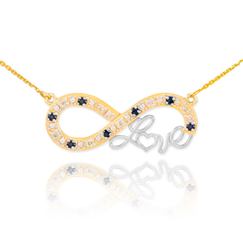 """14k Two-Tone Gold Infinity """"Love"""" Script Necklace with Black and Clear Diamonds"""