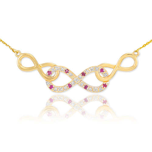 14k Gold Ruby Triple Infinity Necklace with Diamonds