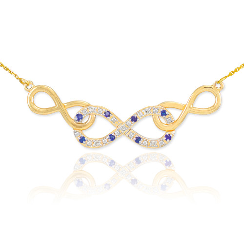 14k Gold Sapphire Triple Infinity Necklace with Diamonds
