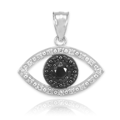 White Gold Evil Eye Pendant Necklace with Clear and Black Diamonds