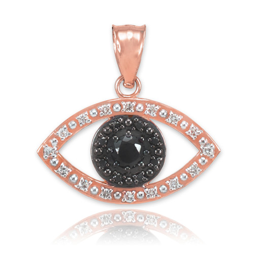 Rose Gold Evil Eye Pendant Necklace with Clear and Black Diamonds