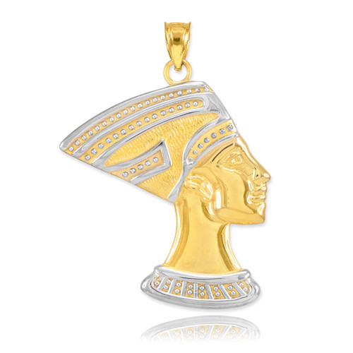 Two-Tone Gold Queen Nefertiti Pendant Necklace