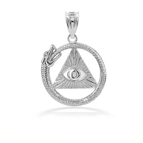 925 Sterling Silver Eye of Horus Ouroboros Pendant Necklace