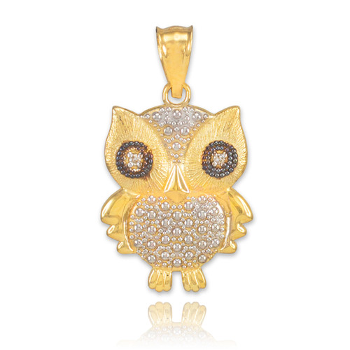 Two-Tone Gold Owl Pendant Necklace with Diamonds
