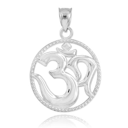 Polished White Gold Om Symbol Charm Pendant Necklace
