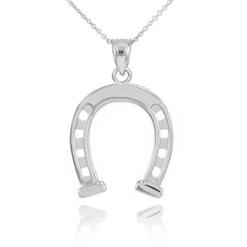 White Gold Horseshoe Pendant Necklace