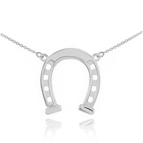 14k White Gold Horseshoe Necklace