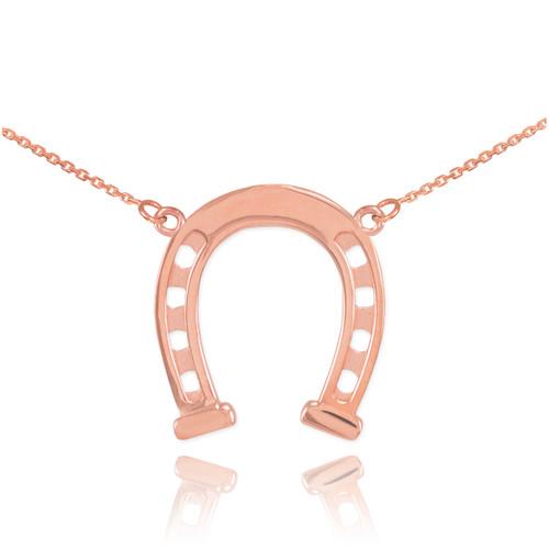 14k Rose Gold Horseshoe Necklace