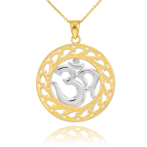 Two-Tone Gold Om Symbol Pendant Necklace