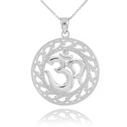 White Gold Om Symbol Pendant Necklace