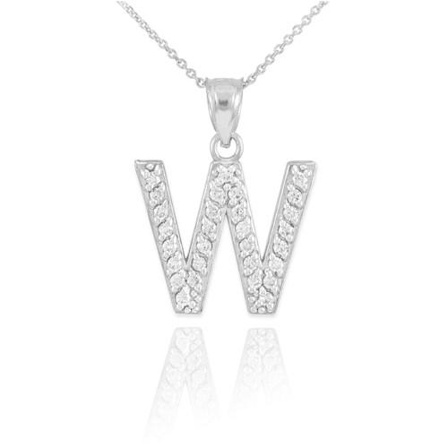 "White Gold Letter ""W"" Initial Diamond Monogram Pendant Necklace"