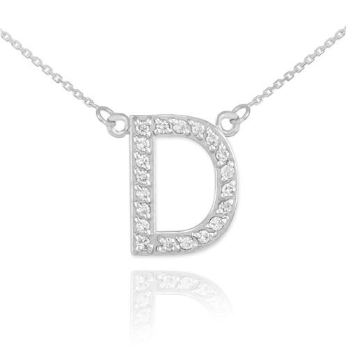 "14k White Gold Letter ""D"" Diamond Initial Necklace"
