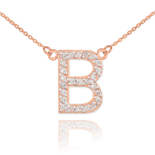 """14k Rose Gold Letter """"B"""" Diamond Initial Necklace"""