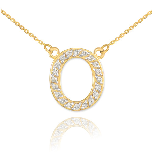 """14k Gold Letter """"O"""" Diamond Initial Necklace"""