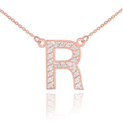 """14k Rose Gold Letter """"R"""" Diamond Initial Necklace"""