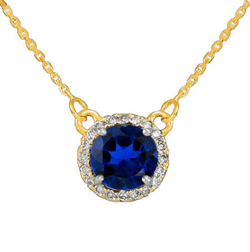 14k Gold Diamond Blue Sapphire Necklace