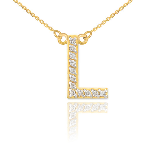 "14k Gold Letter ""L"" Diamond Initial Necklace"
