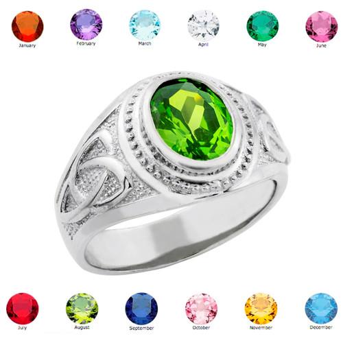 Sterling Silver Celtic Men's Birthstone CZ Ring