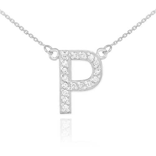"""14k White Gold Letter """"P"""" Diamond Initial Necklace"""