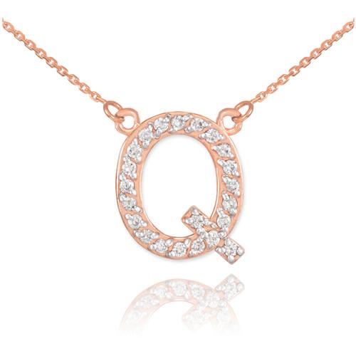 "14k Rose Gold Letter ""Q"" Diamond Initial Necklace"