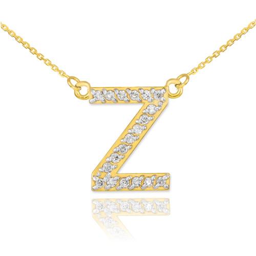 "14k Gold Letter ""Z"" Diamond Initial Necklace"