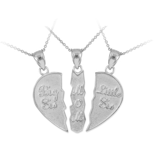 """Three Part Necklace """"Big Sis, Mom, Little Sis"""" Silver Pendant"""