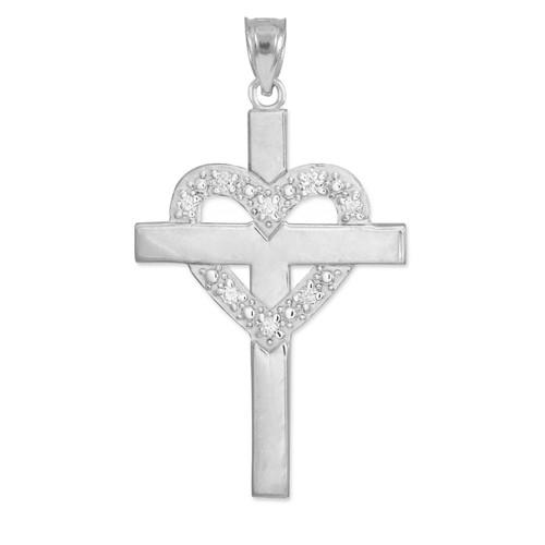 White Gold Cross with Diamond Heart Pendant