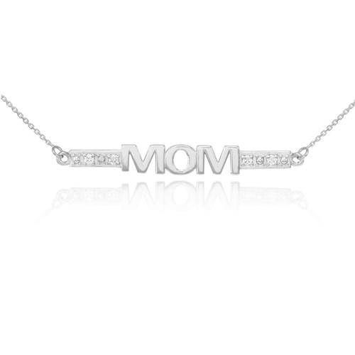 14k White Gold Diamond MOM Necklace