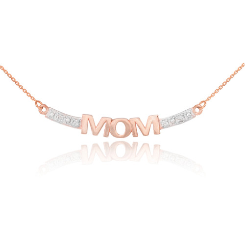 14k Two-Tone Rose Gold MOM Necklace with Diamonds