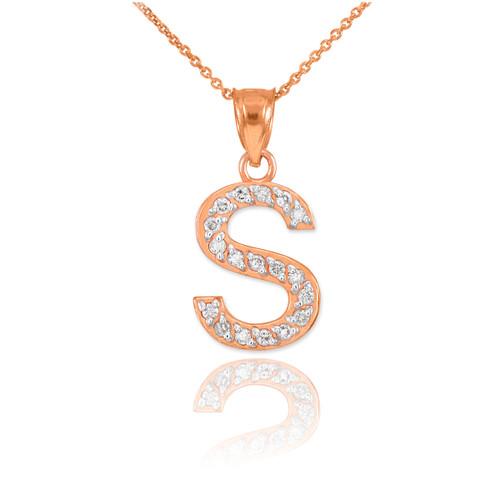 "Rose Gold Letter ""S"" Diamond Initial Pendant Necklace"