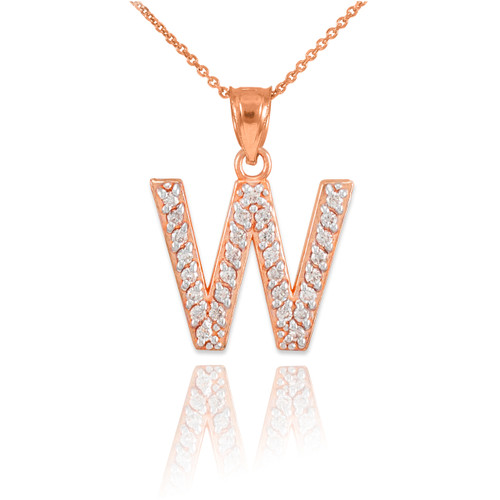 "Rose Gold Letter ""W"" Initial Diamond Monogram Pendant Necklace"
