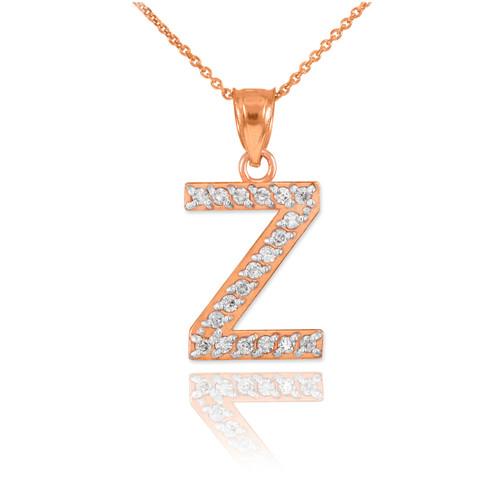 "Rose Gold Letter ""Z"" Diamond Initial Pendant Necklace"