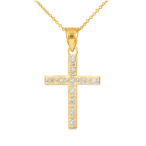 Gold Cross Pendant Necklace with Diamonds